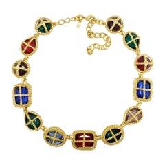 Kenneth Jay Lane Gold Big Jewel Link Collar Necklace, Contemporary, KJL