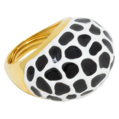 Kenneth Jay Lane Gold Black and White Enamel Dome Cocktail Ring, Modern
