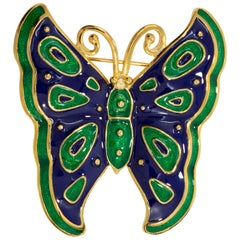 Kenneth Jay Lane Gold Butterfly Pin Brooch, Green and Blue Enamel