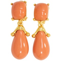 Kenneth Jay Lane Gold Coral Square Top Drop Clip On Earrings, KJL, Contemporary