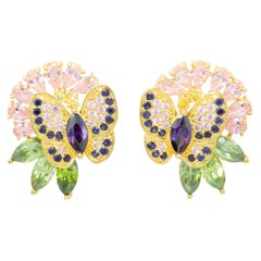 Kenneth Jay Lane Gold CZ Crystal Butterfly Flower Earrings, Contemporary
