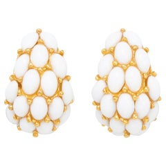Kenneth Jay Lane Gold Domed White Cabochon Clip On Earrings, Contemporary