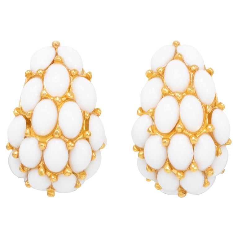 Kenneth Jay Lane Gold Domed White Cabochon Clip On Earrings, Contemporary For Sale