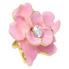 Kenneth Jay Lane Gold Flower Crystal Cocktail Ring, Hot Pink Enamel, KJL