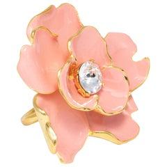 Kenneth Jay Lane Gold Flower Crystal Cocktail Ring, Salmon Coral Enamel, KJL