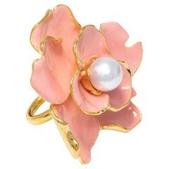 Kenneth Jay Lane Gold Flower Faux Pearl Cocktail Ring, Salmon Coral Enamel, KJL