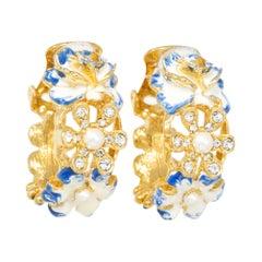 Kenneth Jay Lane Gold Flower Hoop Clip on Earrings, Enamel and Faux Pearls