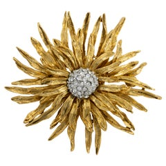 Kenneth Jay Lane Gold Flower Pin Brooch, Clear Crystals