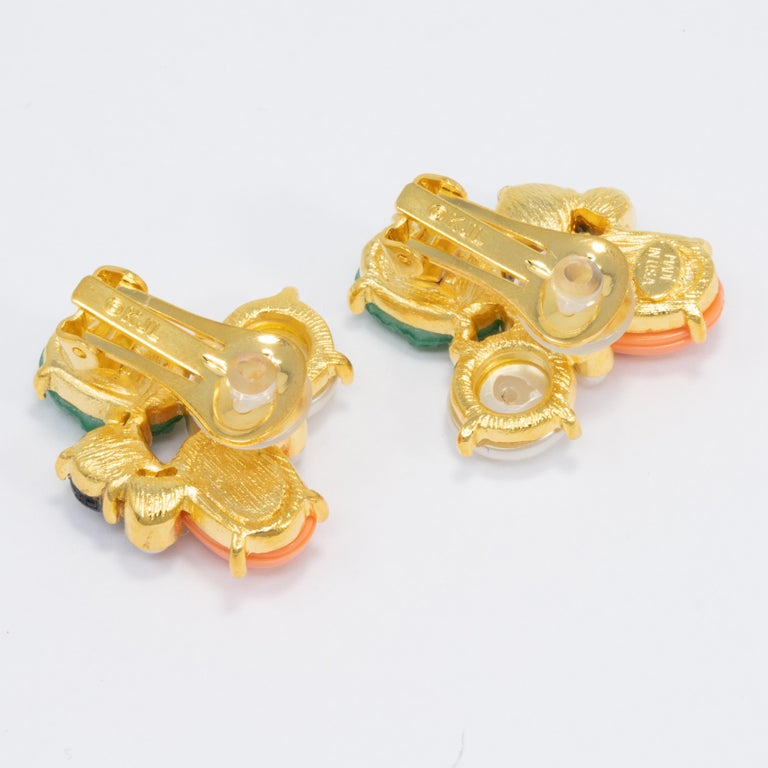 Contemporary Kenneth Jay Lane Gold Jade and Pearl Cabochon Cluster Clip On Earrings For Sale