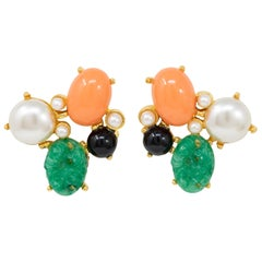 Kenneth Jay Lane Gold Jade and Pearl Cabochon Cluster Clip On Earrings
