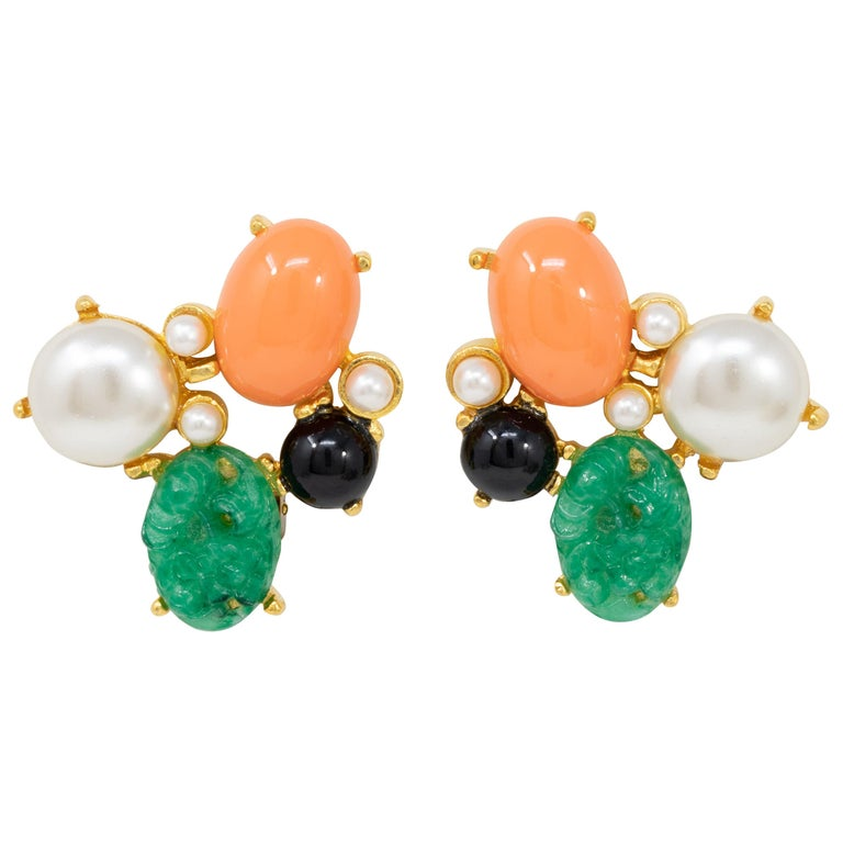 Kenneth Jay Lane Gold Jade and Pearl Cabochon Cluster Clip On Earrings For Sale