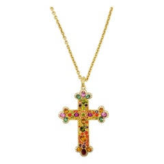 Kenneth Jay Lane Gold Jeweled Cross Pendant Long Necklace, Pave Crystals, KJL