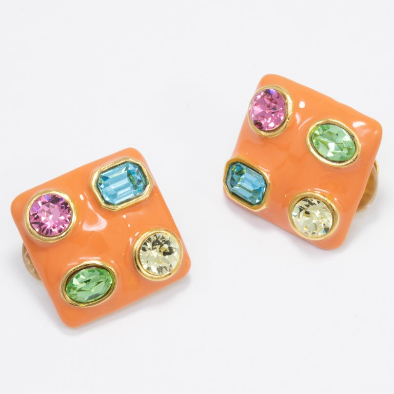 Kenneth Jay Lane Gold Jeweled Square Button Clip on Earrings, KJL, Contemporary In New Condition For Sale In Milford, DE