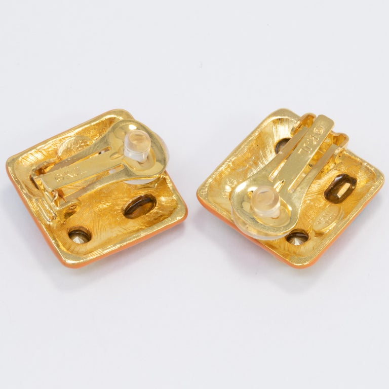 Women's Kenneth Jay Lane Gold Jeweled Square Button Clip on Earrings, KJL, Contemporary For Sale
