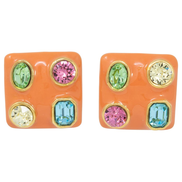 Kenneth Jay Lane Gold Jeweled Square Button Clip on Earrings, KJL, Contemporary For Sale