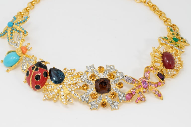Contemporary Kenneth Jay Lane Gold Kaleidoscope Collar Necklace, Enamel and Crystal Motifs For Sale