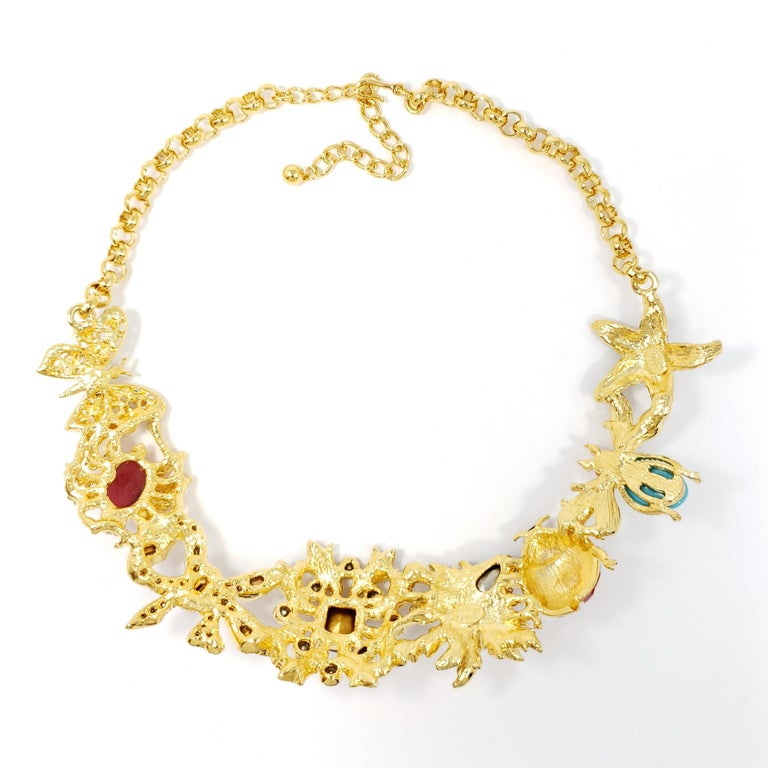 Kenneth Jay Lane Gold Kaleidoscope Collar Necklace, Enamel and Crystal Motifs In New Condition For Sale In Milford, DE