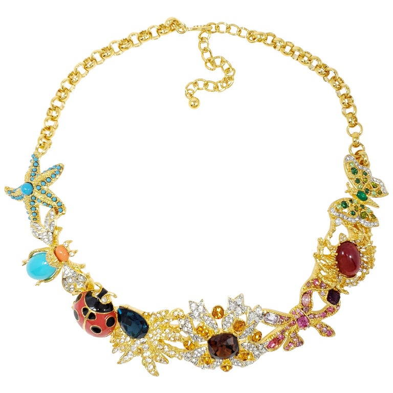Kenneth Jay Lane Gold Kaleidoscope Collar Necklace, Enamel and Crystal Motifs For Sale