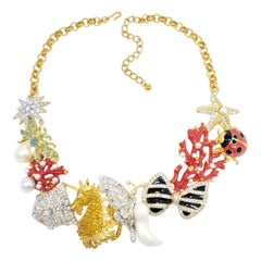Kenneth Jay Lane Gold Kaleidoscope Collar Necklace, Enamel and Crystal Motifs