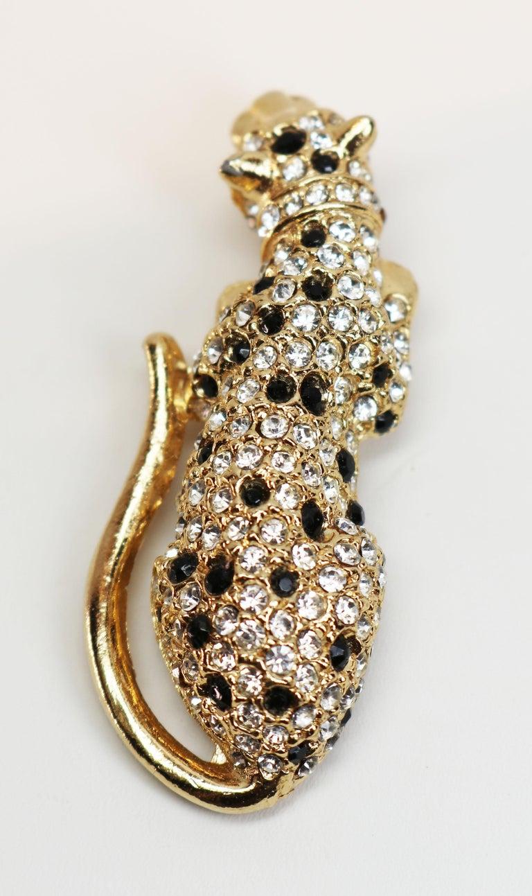 Kenneth Jay Lane Gold Leopard Fur Clip For Sale 2