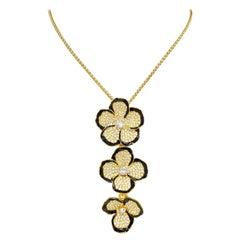 Kenneth Jay Lane Gold Multi Flower Pave Crystal Pendant Necklace, Black Enamel