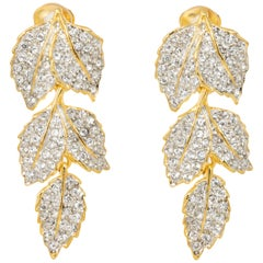 Kenneth Jay Lane Gold Pave Crystal Leaves Link Drop Clip On Earrings, KJL