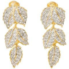Kenneth Jay Lane Gold Pave Crystal Leaves Link Drop Clip On Earrings, KJL