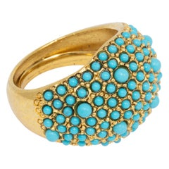 Kenneth Jay Lane Gold Pave Turquoise Cabochon Dome Cocktail Ring