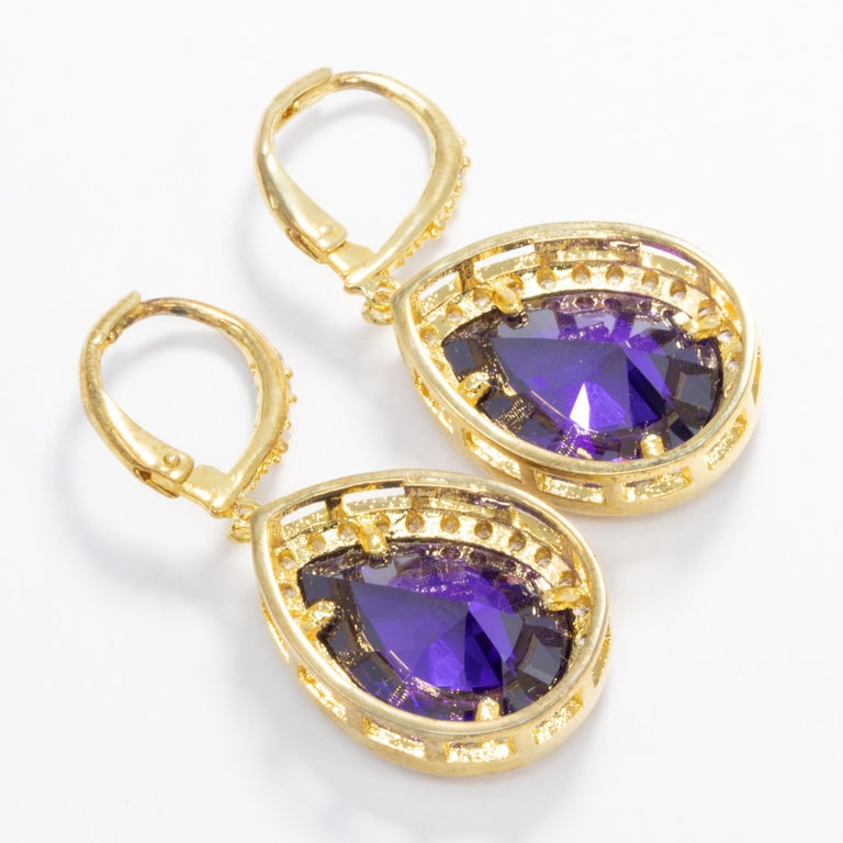 Contemporary Kenneth Jay Lane Gold Pear Amethyst Cubic Zirconia Delicate Dangle Earrings For Sale
