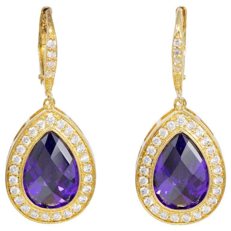 Kenneth Jay Lane Gold Pear Amethyst Cubic Zirconia Delicate Dangle Earrings For Sale