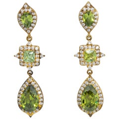 Kenneth Jay Lane Gold Peridot Cubic Zirconia Drop Dangle Earrings