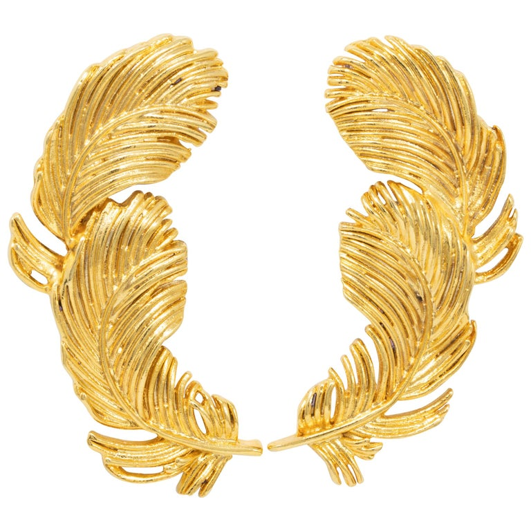 Kenneth Jay Lane Gold Plume Feather Clip on Earrings, Contemporary, KJL For Sale