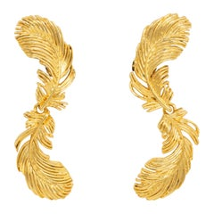 Kenneth Jay Lane Gold Plume Feather Link Clip on Earrings, Contemporary, KJL