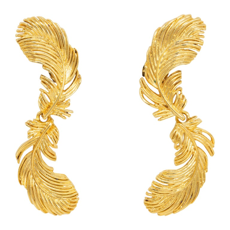 Kenneth Jay Lane Gold Plume Feather Link Clip on Earrings, Contemporary, KJL For Sale