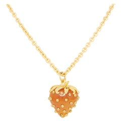 Kenneth Jay Lane Gold Studded Strawberry Pendant Long Necklace, Contemporary