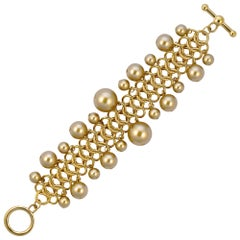 Kenneth Jay Lane Gold Tone Link Chain Bracelet with Golden Ball Beads 1990s