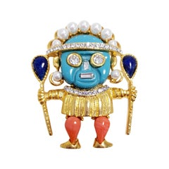 Kenneth Jay Lane Gold Zulu Warrior Pin Brooch, Coral and Turquoise Cabochons