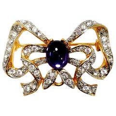 Kenneth Jay Lane Golden Bow Motif Pin Brooch, Amethyst Cabochon, Clear Crystals