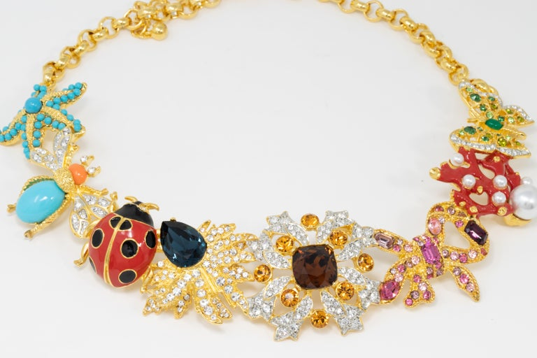 Contemporary Kenneth Jay Lane Golden Kaleidoscope Collar Necklace, Enamel and Crystal Motifs For Sale