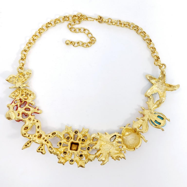 Kenneth Jay Lane Golden Kaleidoscope Collar Necklace, Enamel and Crystal Motifs In New Condition For Sale In Milford, DE
