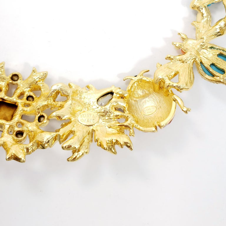 Women's Kenneth Jay Lane Golden Kaleidoscope Collar Necklace, Enamel and Crystal Motifs For Sale