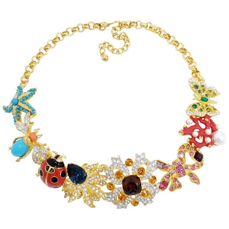 Kenneth Jay Lane Golden Kaleidoscope Collar Necklace, Enamel and Crystal Motifs For Sale