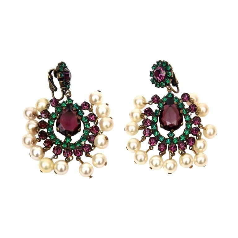 Kenneth Jay Lane Green, Purple Pearl Dangle Chandelier Clip On Earrings Vintage For Sale