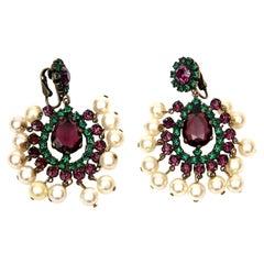 Kenneth Jay Lane Green, Purple Pearl Dangle Chandelier Clip On Earrings Vintage