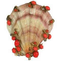 Kenneth Jay Lane Jeweled Shell Brooch