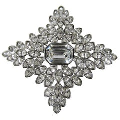Kenneth Jay Lane KJL Brooch 3.5 Inch Cruciform Star Pin