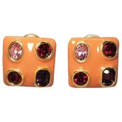 Kenneth Jay Lane KJL Coral Enamel Bezel Ruby Crystal Square Clip on Earrings