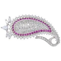 Kenneth Jay Lane KJL CZ Embellished Pave Crystal Paisley Motif Pin Brooch