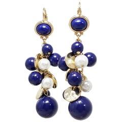 Kenneth Jay Lane KJL Dangling Cluster Faux Lapis Lazuli and Pearl Bead Earrings