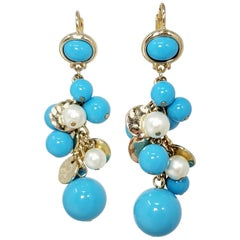 Kenneth Jay Lane KJL Dangling Cluster Turquoise and Faux Pearl Bead Earrings